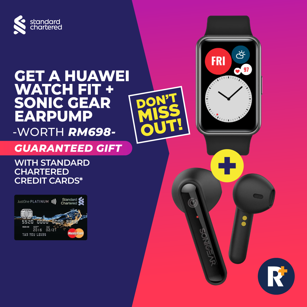 Huawei Watch Fit Smartwatch - Sonic Gear Bluetooth Earbuds - Standard Chartered Credit Card PR...png